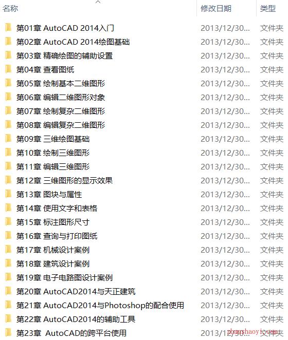 AutoCAD 2014从入门到精通视频教程下载(含素材)